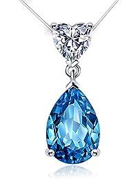 Aiblii Women's 18'' No Allergy Blue Swarovski Crystal...