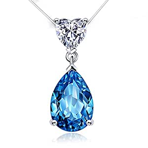 Aiblii Women's Fashion Heart Diamond Shaped Blue Water Drops Pendant Necklace, Jewelry for Women