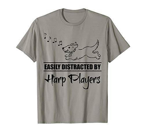 Running Dog Easily Distracted by Harp Players Fun Whimsical T-Shirt