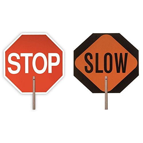 Safety Flag 18 in. Reflective Stop/Slow 2-Sided ()
