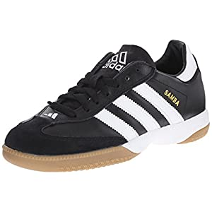adidas Performance Men's Samba Millennium Indoor Soccer Cleat,Black/White/Gold,13.5 M US