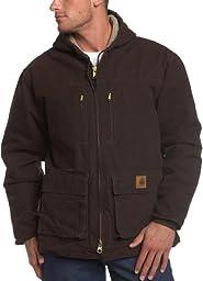 Carhartt Men\'s Big & Tall Jackson Coat Sherpa Lined Sandstone,Dark Brown,XXX-Large Tall