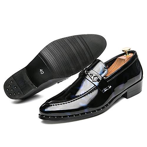 Eu Hilotu Bout Pour Red Hommes Taille Chaussures Fashion Rond Des Oxford Black Verni color Blue Occasionnel Soirée 39 Cuir Mocassins De qdHrwpq1