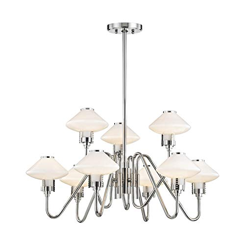 Hudson Valley Lighting 2009-PN Knowles 9 Light Chandelier, Polished Nickel
