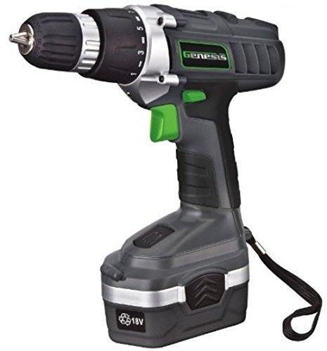 Genesis GCD18BK 18v Cordless Drill/Driver Kit, Grey ..#from-
