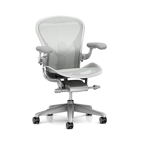 Herman Miller Aeron Ergonomic Office Chair with Tilt Limiter and Seat Angle | Adjustable PostureFit SL, Arms, and Carpet Casters | Medium Size B with Mineral/Satin Aluminum Finish