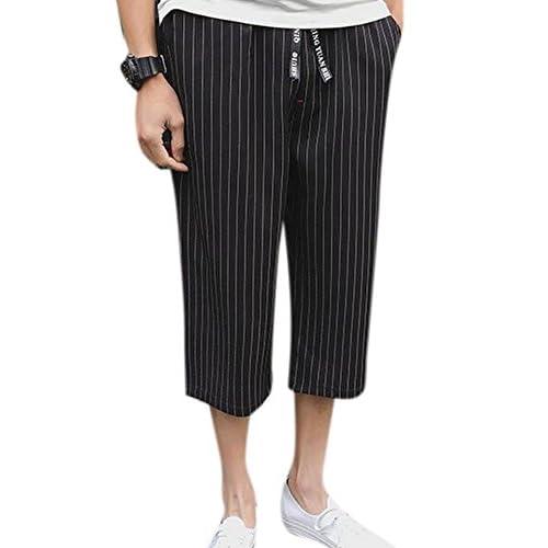 c879ec1979d 30%OFF Men s Casual Loose Cotton Elastic Waist Wide Leg Cropped Trousers  Capri Pants