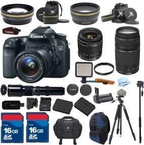 Canon EOS 70D DSLR Camera & 18-55mm IS & 75-300mm III & 500mm Lenses. ALS VARIETY Kit Includes, Battery Grip + 2 Pcs - 16GB Card + LED Light + Tripod + UV Filter - International Version