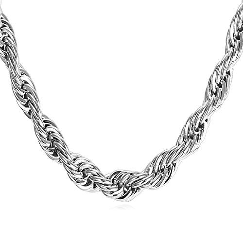 U7 Thick Chunky Necklace Twisted Style Stainless Steel 9MM Wide Rope Chain for Men and Boys 22