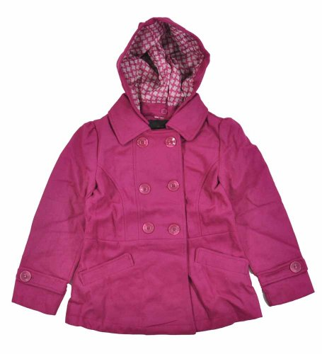Yoki Little Girls Hooded Double-Breasted Faux Wool Pea Coat (5/6, (Hooded Wool Peacoat)