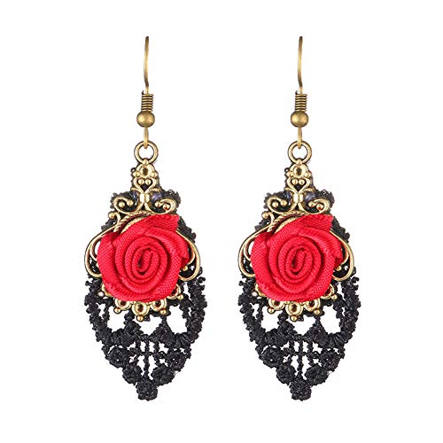 Antique Copper Gold Black Lace Red Coral Carved Rose Flower Tear Drop Taasel Dangle Earring (Flower Carved Rose Coral)