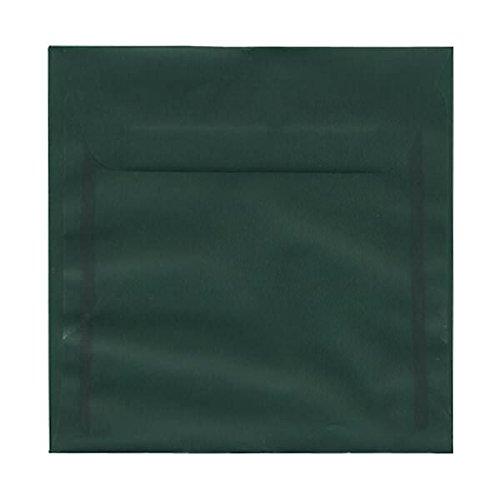 JAM Paper 6'' x 6'' Square Envelopes - Racing Green Translucent Vellum -25/pack