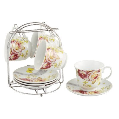 Lorenzo Import Floral Coffee Cups On Metal Stand (Set of 4), Pink