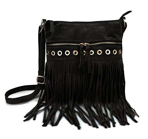 Hoxis Studded Tassel Zipper Pocket Faux Suede Leather Cross Body Bag Womens Purse (Black)
