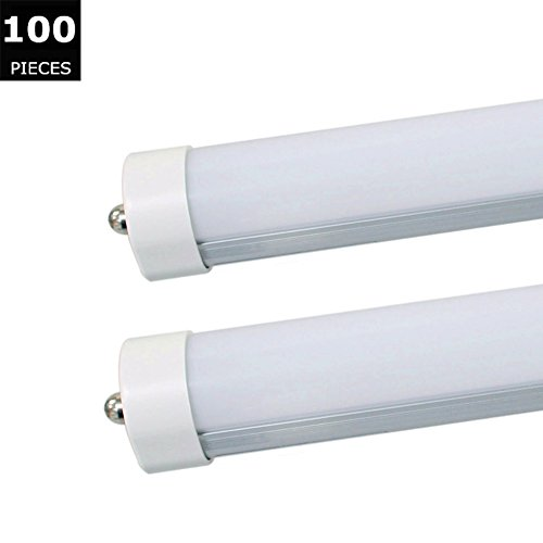 CNSUNWAY LIGHTING 100-Pack 96 8ft 45Watt T8T10T12 LED Tube Frosted cover with FA8 single pin 6000K Daylight White 4800LM90Watt T12 Linear Fluorescent Tube Replacement 100