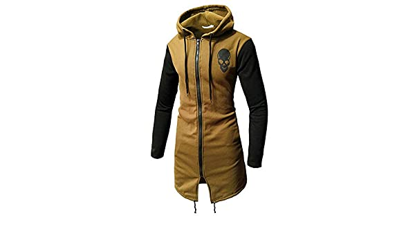 Amazon.com: DORIC Mens Mens Autumn Winter Casual Skull Print Zipper Long Sleeve Top Blouse Jacket Coat Khaki: Clothing