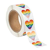 Thank You Stickers - 1000-Count Gay Pride Stickers, Rainbow Love Heart Sticker Roll, Heart Shaped Labels for Gifts, Crafts, Envelope Sealing, 1.5 x 1.25 Inches