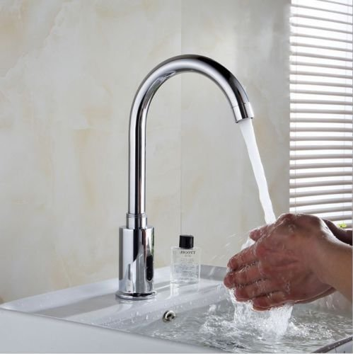 DUAL-POWER Automatic Sensor Faucet Touch Free Kitchen Bathroom Sink Tap, Chrome by Amyfaucet (Image #4)