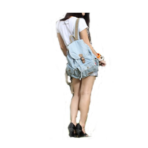 Backpack Hiking Donalworld Canvas Bag Offwhite Shoulder Women Style6 Blue Jeans a16gnxrIW1