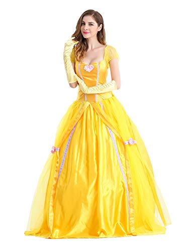Qubskry Princess Beauty Costume for Women, Girl Princess Belle Dress up Ball Gown, Halloween Costume - http://coolthings.us