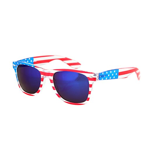 (Shaderz Clear American America USA Sunglasses Frame Retro 80's Purple Lenses)