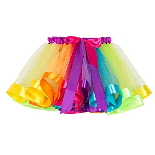 New Little Girls Colorful Rainbow Layered Ribbon Tiered Ballet Tutu Skirt (Pure Rainbow,Medium/4-6 Years) -