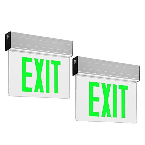 LEONLITE LED Edge Lit Green Exit Sign Single Face with Battery Backup, UL Listed, AC120V/277V, Ceiling/Left End/Back Mount Emergency Light for Hotel, Restaurant, Hospitals, Pack of 2 ()
