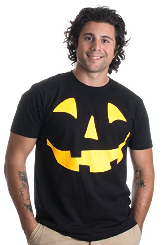 Glow in the Dark Jack O' Lantern Face | Halloween Pumpkin Costume Unisex T-shirt-(Adult,S) (2)