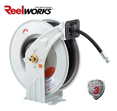 Reelworks Heavy Duty Spring Driven Hose Reel  1 2  X 50 Ft  Dual Oil Reel