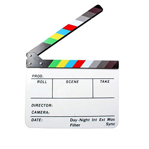 "Andoer Acrylic Clapboard Dry Erase Director Film Movie Clapper Board Slate 9.6 11.7"" with Color Sticks from Andoer"