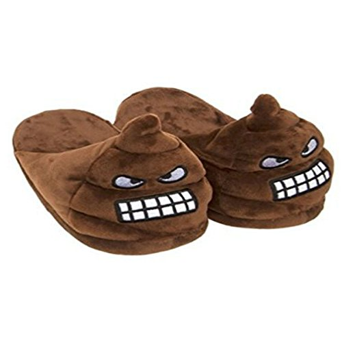 HAPPY MULE DESIGN FACE SHOES POO WINTER BOYS SLIPPERS SIZE EMOJI WINK BROWN ANGRY GENTS MENS wqIXYHx