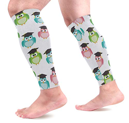Leg Sleeve Cartoon Owls with Graduation Caps Compression Socks Support Non Slip Calf Sleeves - Improve Circulation for Shin Splint, Calf Pain Recovery, Running, Cycling, Travel, Sports 1 Pair