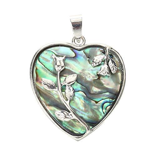 New Heart Metal Abalone Paua Shell Flower Pendant Bead ()