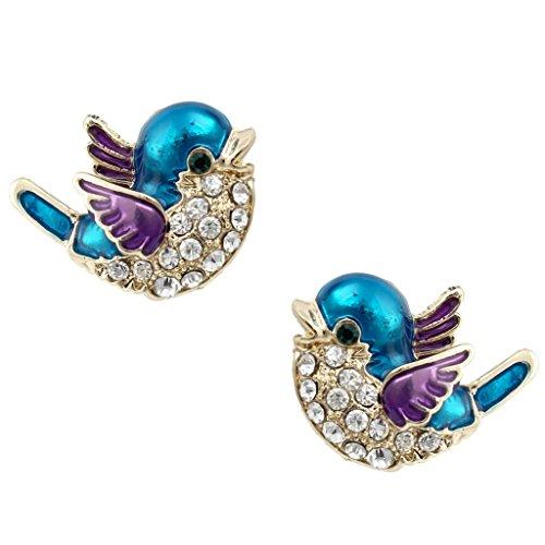 EVER FAITH Austrian Crystal Blue w/Purple Enamel Cute Bluebird Stud Earrings Clear Gold-Tone