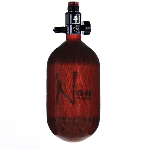 Ninja Carbon Fiber HPA Tank - 68/4500 - Translucent Red by Ninja Paintball