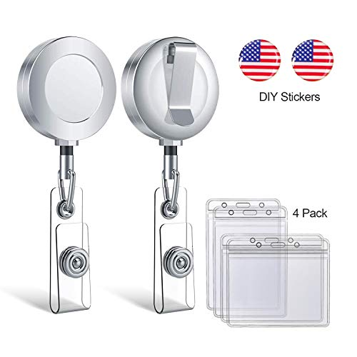 GeekSpark Retractable Badge Holder, Metal Badge Reel Clip with DIY USA Flag Stickers and 4 Pack Heavy Duty Plastic ID Card Holder (Flag Badge Holder)
