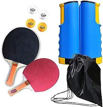 Not Applicable Juego de paletas de Ping Pong - Raquetas Premium, Red retráctil, Pelotas, Bolsa de Almacenamiento - Juego Completo de Tenis de Mesa portátil con Velocidad Avanzada, Control y Giro