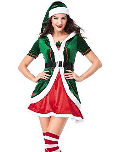 GRACIN Womens Santas Helper Christmas Elf Costume with Hat, Adult Green Elf Dress for Cosplay Party(Medium, Green)