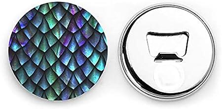 Abrebotellas redondas con patrón de escamas de dragón mágico 3d / imanes de nevera sacacorchos de acero inoxidable pegatina magnética 2 uds