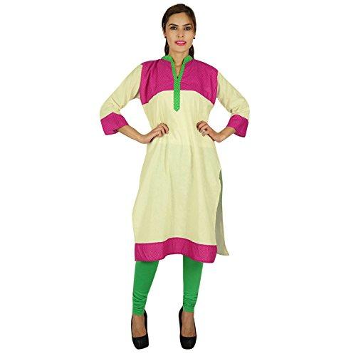 Diseñador indio de Bollywood Kurta Mujeres étnico algodón Kurti regalo vestido de la túnica casual para ella Off blanco y rosa