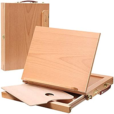 MEEDEN Tabletop Sketchbox Easel - Adjustable & Portable Solid Beech Wood Artist Easel Desktop with Storage Box and Palette for Sketching, Drawing and Painting