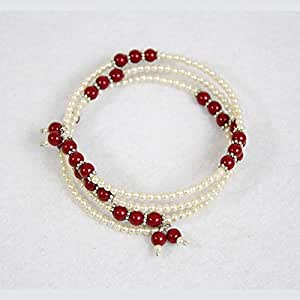 Bracelet for her - pearls and wine red pearls - size can be controlled