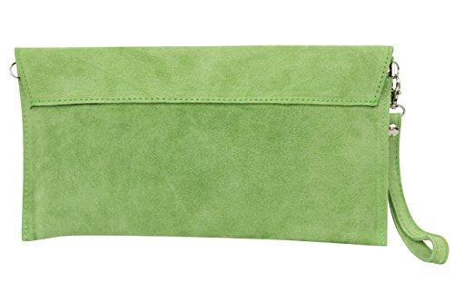 wl801 Verde de bolso para hombro Mujer Moda velour Envelope Clutch mano Antebrazo bolso piel de de mujer Manzana ante correa AMBRA qFUHawAx