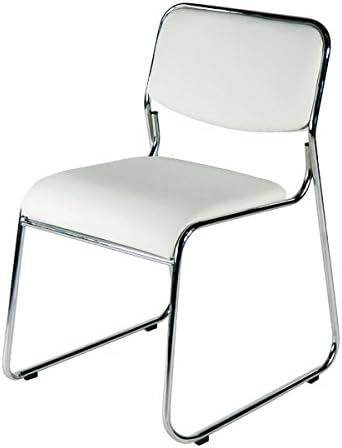 ■ミーティングチェア 会議イス 会議椅子 スタッキングチェア パイプチェア■ホワイト