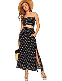 Women's Summer 2 Piece Outfit Polka Dot Crop Top with Long Skirt Set with Pockets
