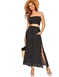 Floerns Women's 2 Piece Outfit Polka Dots Crop Top and Long Skirt Set with Pockets