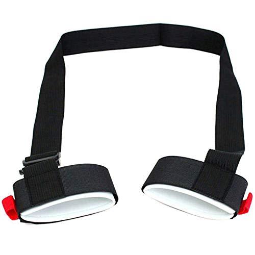 SODIAL Adjustable Skiing Strap Pole Shoulder Hand Carrier Lash Handle Straps Porter Hook Loop Protecting Black Nylon Ski Handle Strap Bags