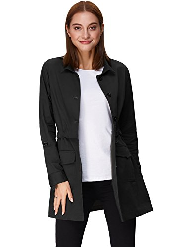 Cotton Slim Fit Button Trench Coat Long Jacket With Drawstring Black Size M KK825-1