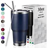 30oz Vacuum Insulated Tumbler Double Wall Coffee Cup by Umite Chef, Stainless Steel Travel Mug with Lid, 2 Straws, Brush & Gift Box(30oz, Navy)