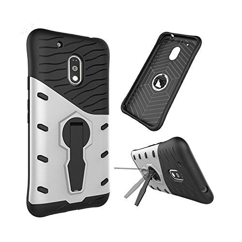 Chevron Back Cover Case for Motorola Moto E3 Power (Silver) [Sniper Series Version 3.0 With 360° Kick Stand Hybrid Back Cover Case]
